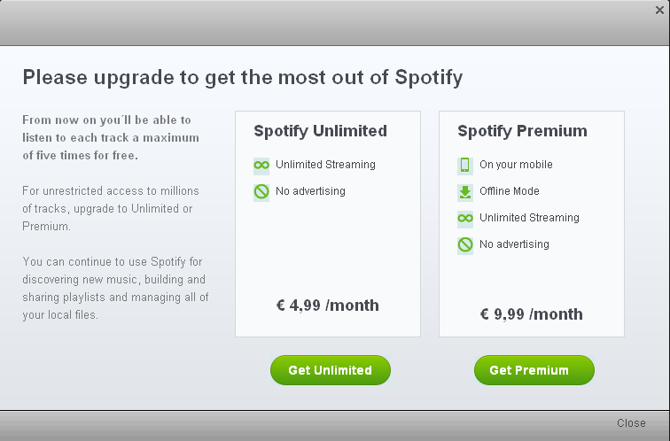 further reductions to spotifys free service