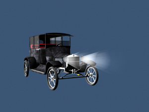 Model T Ford with headlamps